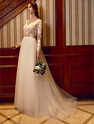 cheap -A-Line Bateau Neck Sweep / Brush Train Lace Tulle Wedding Dress with Appliques Pearl Detailing by LAN TING BRIDE®