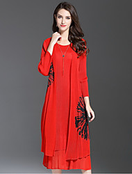 Women's Going out Cute Swing Dress,Solid Round Neck Midi Long Sleeves Polyester Fall Mid Rise Micro-elastic Medium