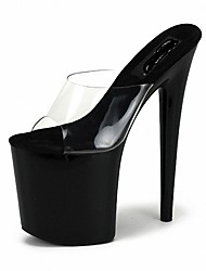 Women's Sandals Slippers Summer PVC Party & Evening Crystal Stiletto Heel White Black Ruby 5in & over