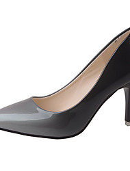 cheap -Women's Heels Comfort Summer PU Walking Shoes Casual Stiletto Heel Gray Ruby 3in-3 3/4in