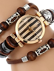 cheap -Women's Bracelet Watch Quartz Water Resistant / Water Proof Creative PU Band Analog Casual Bangle Brown - Brown / Stainless Steel