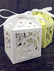 50pcs кольцо дизайн лазерный разрез свадьбы пользу коробка конфеты окно