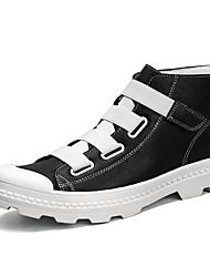 preiswerte -Herren Stiefel Komfort Modische Stiefel Leuchtende Sohlen Leder PU Frühling Herbst Normal Flacher Absatz Weiß Schwarz Rot Flach
