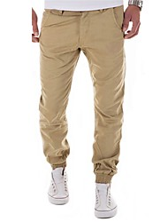 Men's Mid Rise Micro-elastic Active Chinos Pants,Street chic Active Simple Loose Harem Layered Solid