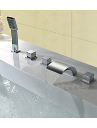 Contemporary Widespread Waterfall with  Brass Valve Three Handles Five Holes for  Chrome  Bathtub Faucet
