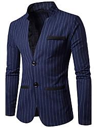 Men's Work Simple Fall Blazer,Striped Peaked Lapel Long Sleeve Regular Cotton