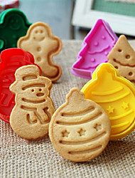 4pcs/Set Cookie Mold 3D Snowman Cookie Plunger Cutter DIY Baking Mould Gingerbread House Christmas Cookie Mold Color random