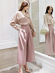 cheap -Women's Going out Casual Summer Fall Blouse Pant Suits,Solid V Neck Long Sleeve Spandex