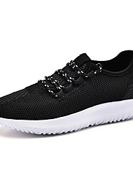 Women's Sneakers Light Soles Spring Fall Knit Casual Outdoor Lace-up Flat Heel Black Gray Blushing Pink 3in-3 3/4in