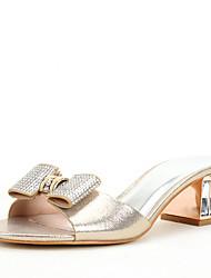 Women's Sandals Toe Ring Summer Fall Glitter Wedding Dress Party & Evening Rhinestone Crystal Sparkling Glitter Buckle Crystal Heel Gold