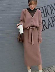 Women's Going out Casual/Daily Simple Sexy Spring Fall Hoodie Skirt Suits,Solid V Neck Long Sleeve Micro-elastic