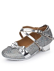 cheap -Women's Kids' Dance Shoes Sparkling Glitter Paillette Synthetic Flat Indoor Sequin Ruffles Buckle Ruched Low Heel Gold Silver Blushing