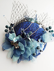 cheap -Tulle Chiffon Lace Fabric Silk Net Fascinators Hats Hair Clip Headpiece