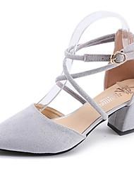 baratos -Mulheres Sapatos Camurça Verão Gladiador Saltos Caminhada Salto Robusto Dedo Apontado Presilha Preto / Cinzento / Rosa claro