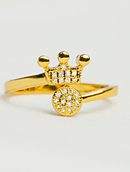 cheap -Women's Luxury Synthetic Diamond Gold Plated Crown Cuff Ring - Round Crown Luxury Vintage Love Elegant Fashion Adjustable For Wedding