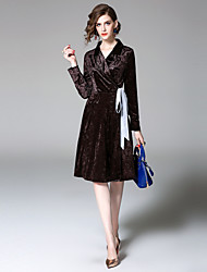 cheap -EWUS Women's Daily Going out Street chic A Line Dress,Solid V Neck Knee-length Long Sleeves Polyester Summer Fall Mid Rise Micro-elastic Thin
