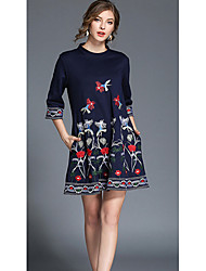 cheap -SHE IN SUN Women's Daily Holiday Going out Casual Street chic A Line Loose Dress,Floral Crew Neck Mini 3/4 Length Sleeves Polyester All Seasons High