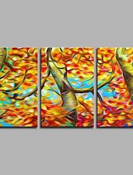 Недорогие -клен 3 панели декора стены ручная роспись маслом на холсте современное произведение искусства стены