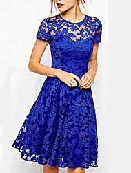 cheap -Women's Daily Going out Lace Sophisticated A Line Dress,Solid Color Round Neck Above Knee Short Sleeves Cotton Summer Mid Waist Inelastic