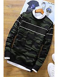 Standard Pullover Da uomo-Casual Tinta unita Rotonda Manica lunga Rayon Poliestere Autunno Inverno Medio spessore Media elasticità