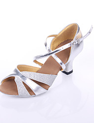 "Women's Latin Leatherette Heels Indoor Splicing Customized Heel Silver 2"" - 2 3/4"" Customizable"