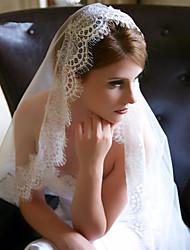 Uma Camada Borda com aplicação de Renda Véus de Noiva Véu Capela Com Apliques Tule