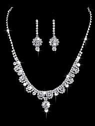 Per donna Orecchini a goccia Collana Strass Zirconi Classico Elegant Matrimonio Fidanzamento Cerimonia Argento Fiore decorativo