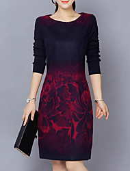 Women's Daily Plus Size Casual Sheath Dress,Print Round Neck Knee-length Long Sleeves Cotton Acrylic Fall Mid Rise Inelastic Thick