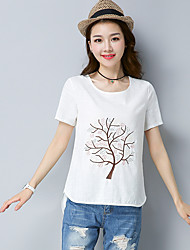 Women's Casual/Daily Simple T-shirt,Embroidery Round Neck Short Sleeves Cotton Linen