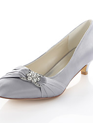Women's Wedding Shoes Basic Pump Stretch Satin Spring Fall Party & Evening Dress Crystal Kitten Heel Blue Ruby Silver 1in-1 3/4in