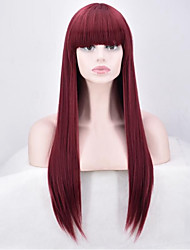 Women Synthetic Hair Long Straight Wig High Temperature 70cm Long Burg Color