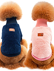Cat Dog Sweatshirt Dog Clothes Fabric Spring/Fall Winter Casual/Daily Keep Warm Sports Solid Green Blue Pink Khaki For Pets