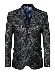 Men's Club Plus Size Party/Cocktail Street chic Punk & Gothic Spring Fall Blazer,Print V Neck Long Sleeve Regular Cotton Polyester