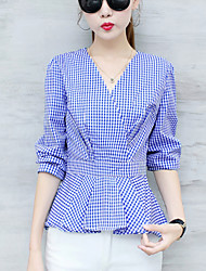 Women's Going out Casual/Daily Street chic Spring Fall Blouse,Check V Neck Long Sleeves Cotton Polyester Medium
