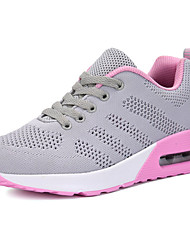 cheap -Women's Athletic Shoes Comfort Spring Fall Knit Running Shoes Casual Outdoor Lace-up Flat Heel White Black Gray Blushing Pink 3in-3 3/4in