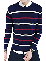 Men's Plus Size Casual Slim Striped Spell Color Knitted Pullover Cotton Spandex