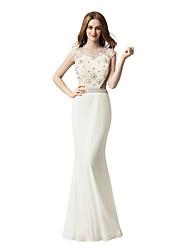 preiswerte -Trompete / Meerjungfrau Schmuck Boden-Länge Lycra Probe Dinner Formeller Abend Kleid mit Perlenstickerei durch Sarahbridal