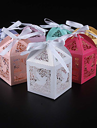 cheap -Cubic Pearl Paper Favor Holder with Ribbons Favor Boxes - 50