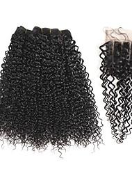 Ciocche a onde capelli veri Brasiliano Kinky Curly 1 anno 5 pezzi tesse capelli kg Onde