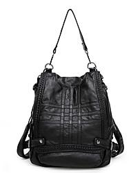 baratos -Mulheres Bolsas Pele de Ovelha mochila para Casual Todas as Estações Preto