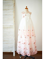 A-Line Floor Length Flower Girl Dress - Tulle Sleeveless Spaghetti Straps with Flower(s) by LAN TING BRIDE®