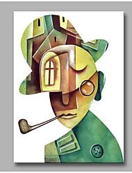 abordables -Pintada a mano Abstracto Vertical,Artístico Abstracto Moderno/Contemporáneo Oficina/ Negocios Navidad Año Nuevo Un Panel LienzosPintura