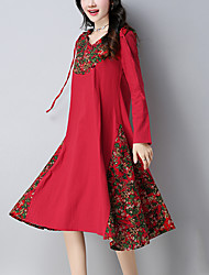 Women's Casual/Daily Vintage Ethnic Print Loose Dress Print Patchwork Hooded Knee-length Long Sleeve Cotton Linen Fall