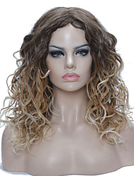 Medium length Kinky Blonde Ombre High Heat Resistant Full Synthetic Wigs