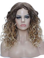 Parrucche sintetiche Senza tappo Medio Riccio Biondo Parrucca naturale costumi parrucche