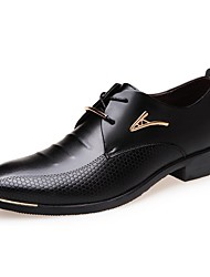 Men's Shoes Leatherette Spring Summer Fall Winter Comfort Formal Shoes Oxfords Lace-up For Casual Office & Career Black Brown
