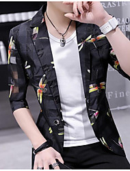 Men's Casual/Daily Simple Spring Blazer,Print Shawl Lapel ¾ Sleeve Regular Cotton