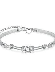Per donna Da ragazza Bracciali a catena e maglie Cristallo Cuore Geometrico Amicizia Di tendenza Stile semplice Cristallo Argento placcato
