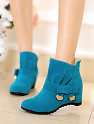 Women's Shoes PU Winter Comfort Boots Low Heel Round Toe For Casual Black Dark Grey Blue