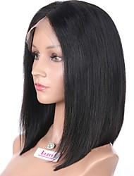 Недорогие -Натуральные волосы Полностью ленточные Парик Бразильские волосы Прямой Стрижка боб С пушком 130% плотность Необработанные 100%